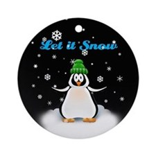 Let it Snow Penguin Ornament (Round)