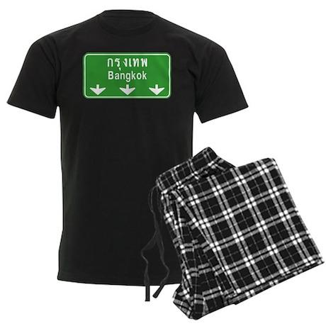 Bangkok Ahead Thai Sign Men's Dark Pajamas