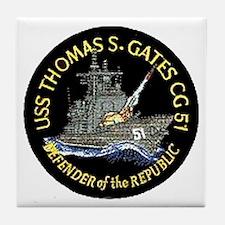 USS Thomas S. Gates CG 51 Tile Coaster