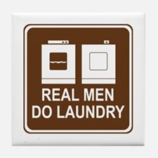 Real Men Do Laundry Tile Coaster