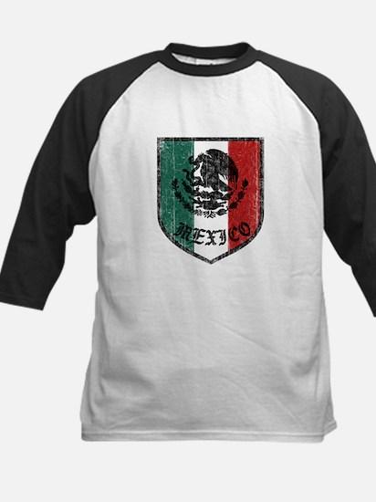 Mexican Flag Crest Kids Baseball Jersey