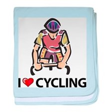 I Love Cycling baby blanket