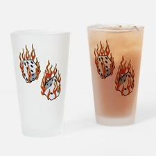 Flaming Dice Pint Glass