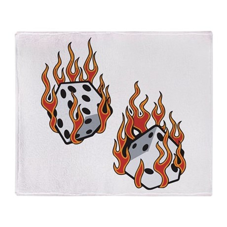Flaming Dice Throw Blanket