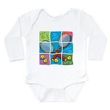 Tennis Puzzle Long Sleeve Infant Bodysuit