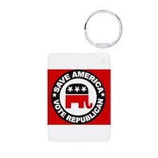 SAVE AMERICA Aluminum Photo Keychain