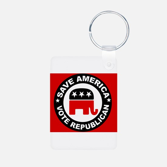 SAVE AMERICA Aluminum Photo Keychain