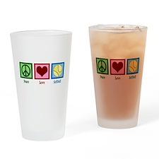 Peace Love Softball Drinking Glass
