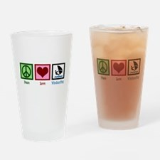 Peace Love Windsurfing Drinking Glass