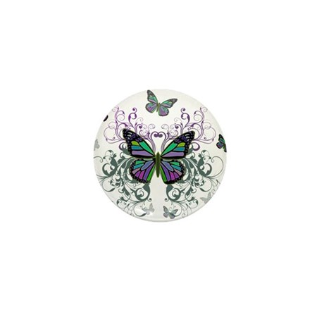 MultiColor Butterflies Mini Button (10 pack)