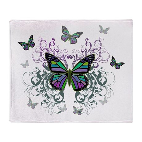 MultiColor Butterflies Throw Blanket