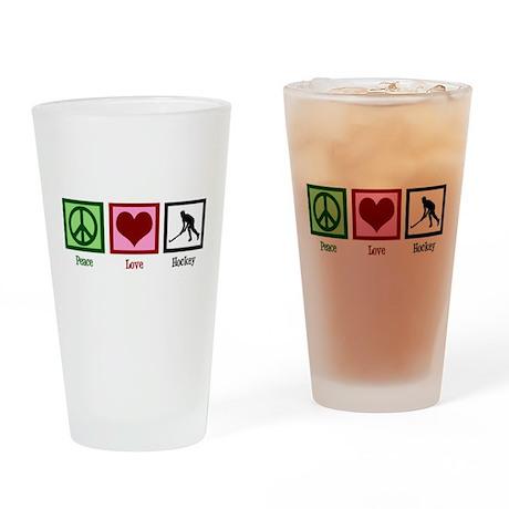 Peace Love Hockey Drinking Glass