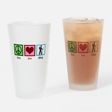 Peace Love Hiking Drinking Glass