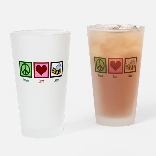 Peace Love Bees Drinking Glass