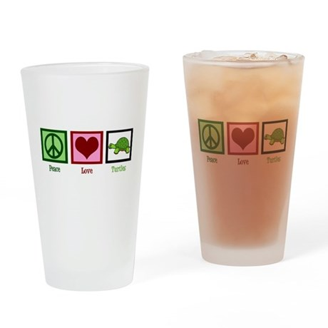 Peace Love Turtles Drinking Glass
