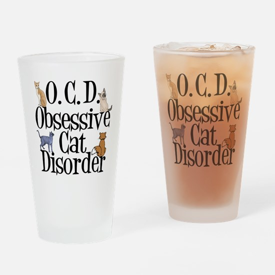 Obsessive Cat Disorder Drinking Glass