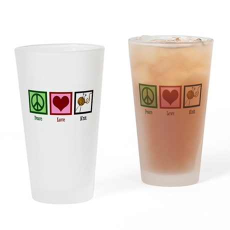 Peace Love Knit Drinking Glass