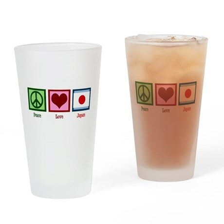 Peace Love Japan Drinking Glass