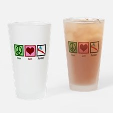 Peace Love Dentistry Drinking Glass