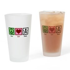 Peace Love Pirates Drinking Glass