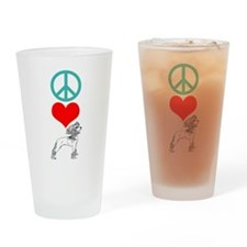 Peace Love Chinese Crested Pint Glass
