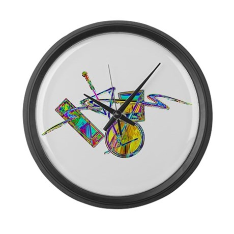 Cocktails Art Neon Sign 2nd Large Wall Clock