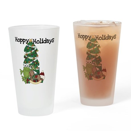 Frog Hoppy Holidays Drinking Glass
