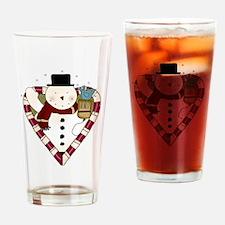 Snowman Heart Pint Glass