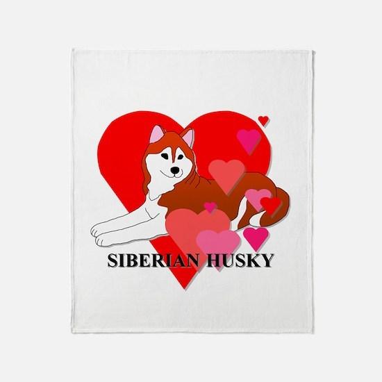 Copper Siberian Husky Throw Blanket