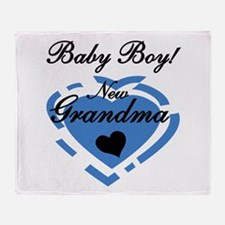 Baby Boy New Grandma Throw Blanket