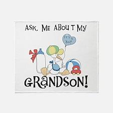 Stork New Grandson Throw Blanket