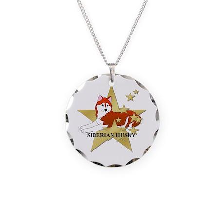 Siberian Husky Stars Necklace Circle Charm