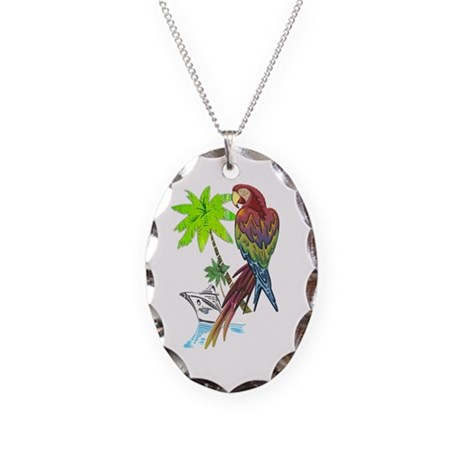 Parrot Tropical Cruise Necklace Oval Charm