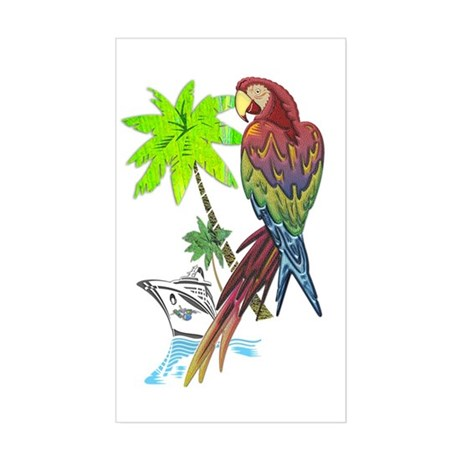 Parrot Tropical Cruise Sticker (Rectangle)