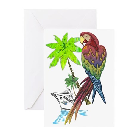 Parrot Tropical Cruise Greeting Cards (Pk of 10)