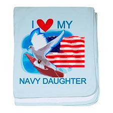 Love My Navy Daughter baby blanket