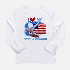 Love My Navy Grandson Long Sleeve Infant T-Shirt