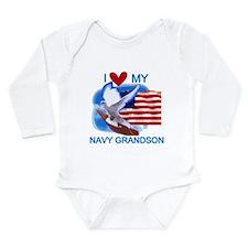 Love My Navy Grandson Long Sleeve Infant Bodysuit