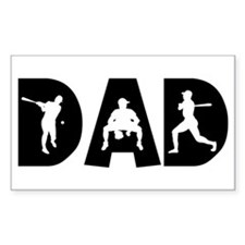 Baseball Dad Rectangle Stickers