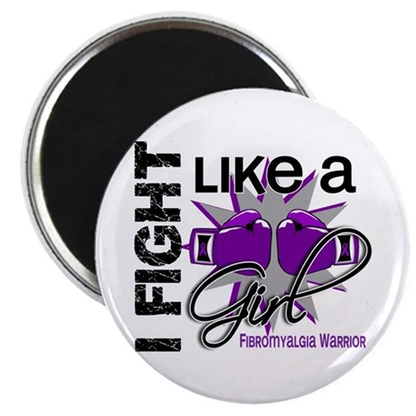 "Fight Like A Girl Fibromyalgia 2.25"" Magnet (100 p"