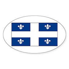 Quebec Quebecer Blank Flag Oval Decal