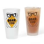 Geek Zone Warning Pint Glass