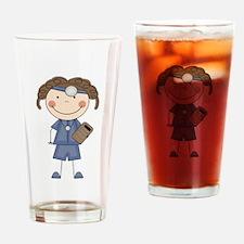 Stick Figure Female Doctor Pint Glass