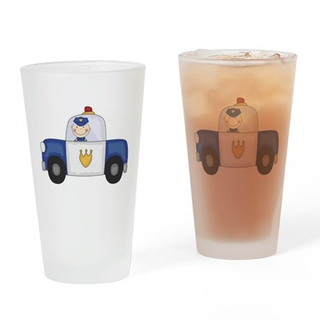 Police Officer in Cruiser Pint Glass