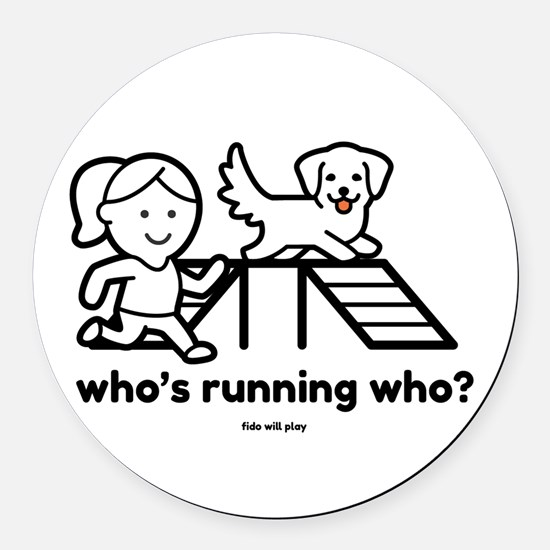 Agility Who's Running Who Round Car Magnet