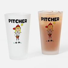 Girl Baseball Pitcher Pint Glass
