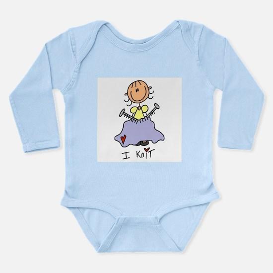 I Knit Stick Figure Long Sleeve Infant Bodysuit