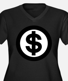 US Dollar Sign Icon Women's Plus Size V-Neck Dark