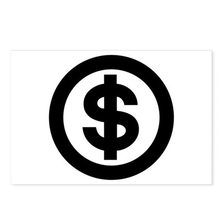 US Dollar Sign Icon Postcards (Package of 8)
