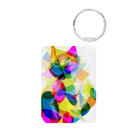 Abstract Cat Aluminum Photo Keychain